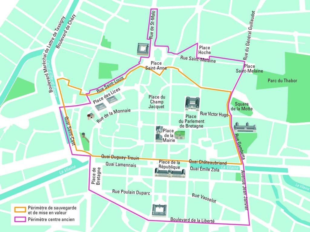 Carte indiquant le périmètre du centre ancien et du périmètre de sauvegarde et de mise en valeur de Rennes